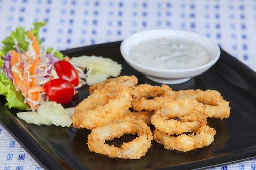 onion rings with vegan ranch dressing